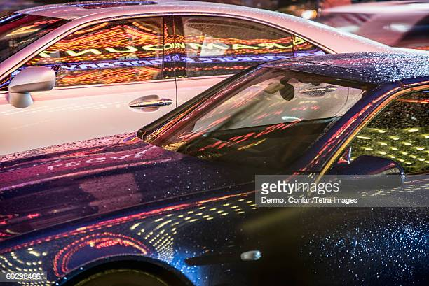 USA, Massachusetts, Boston, Theatre District, Reflection in car at night
