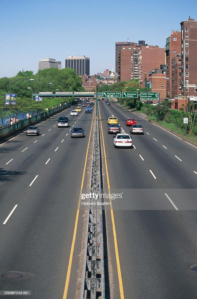 Usa Massachusetts Boston Traffic On Storrow Drive Stock Photo