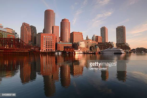 usa, massachusetts, boston, waterfront from fan pier at dawn - boston massachusetts stock pictures, royalty-free photos & images