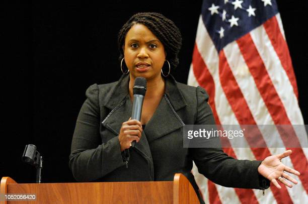 Massachusetts Democratic congressional candidate Ayanna Pressley addresses a town hall meeting in Roxbury Massachusetts October 13 2018