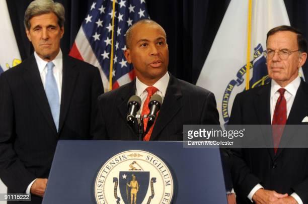 Massachusetts Democratic Governor Deval Patrick speaks as U.S. Senator John Kerry and Interim Senator Paul G. Kirk Jr. Look on at a press conference...