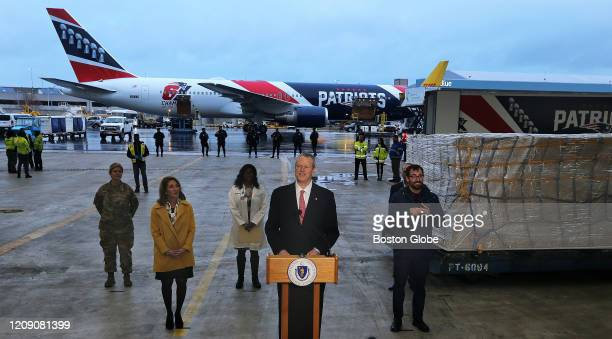 Massachusetts Governor Charles Baker gives an emotional speech and appears on the verge of tears as he thanked the Kraft family at the start of his...