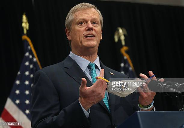 Massachusetts Governor Charlie Baker briefs the media on the COVID-19 pandemic at the Massachusetts State House in Boston on Oct. 27, 2020.