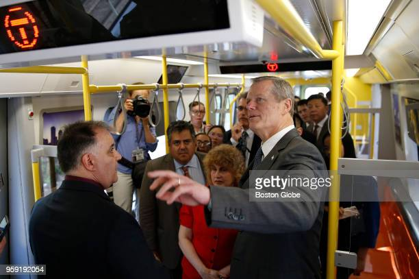 Massachusetts Governor Charlie Baker tours a new MBTA Orange Line car at Wellington Station in Medford MA on May 15 2018 The first new train is...