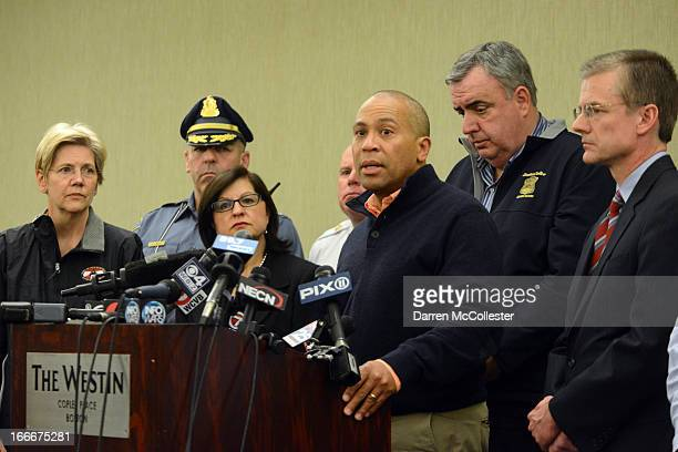 Massachusetts Governor Deval Patrick addresses the media regarding mulitple explosions during the 117th Boston Marathon on April 15 2013 at the...
