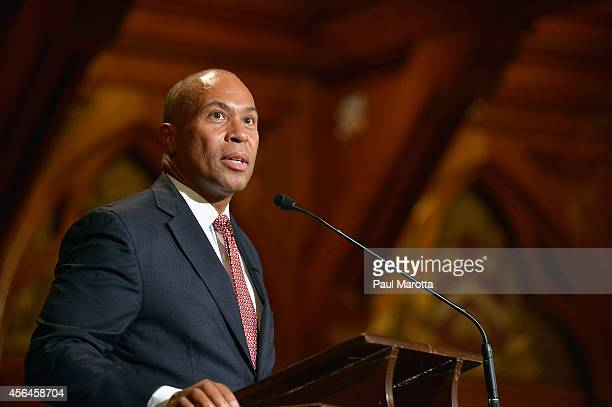 Massachusetts Governor Deval Patrick attends the W.E.B. Du Bois Medal Ceremony and introduces John Lewis at Harvard University's Sanders Theatre on...