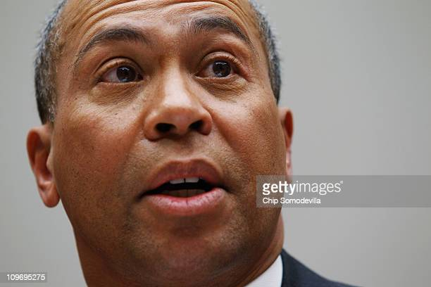 Massachusetts Governor Deval Patrick testifies before the House Energy Committee about the impact of the health care reform act on states during a...