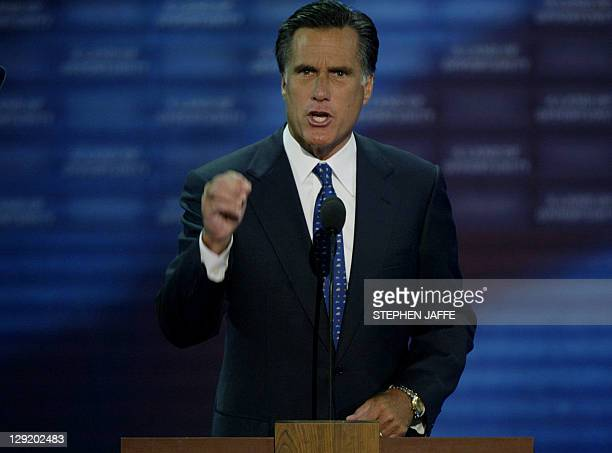 Massachusetts Governor Mitt Romney addresses delegates at the Republican National Convention at Madison Square Garden in New York City 01 September...
