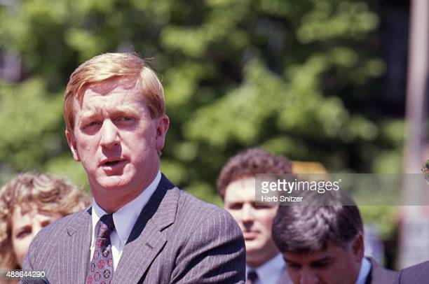 Massachusetts Governor William Weld speaks at the signing of a transportaion bill in circa 1987 in Massachusetts