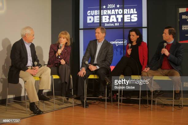 Massachusetts gubernatorial candidates faced off in a debate at the Boston Globe From left to right Donald Berwick Martha Coakley Joseph Avellone...