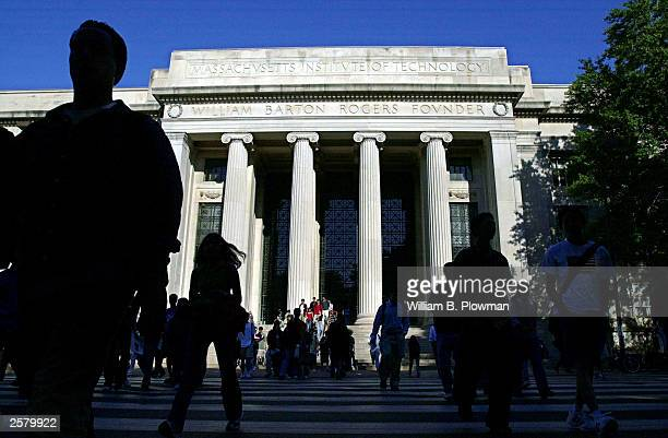 Massachusetts Institute of Technology students exit the Rogers building October 10 2003 in Cambridge Massachusetts
