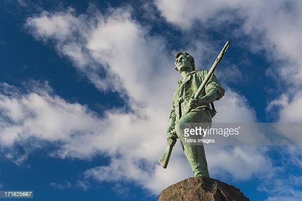 usa, massachusetts, lexington, minutemam statue - revolutionary war stock photos and pictures