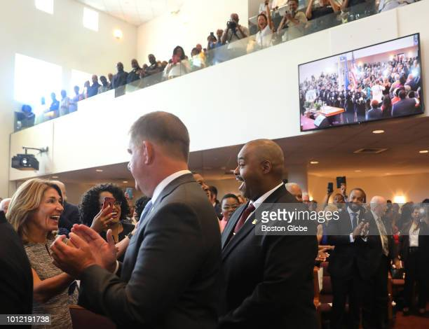 Massachusetts Lt Governor Karyn Polito left greets new Boston Police Commissioner William G Gross right as Boston Mayor Martin J Walsh stands between...