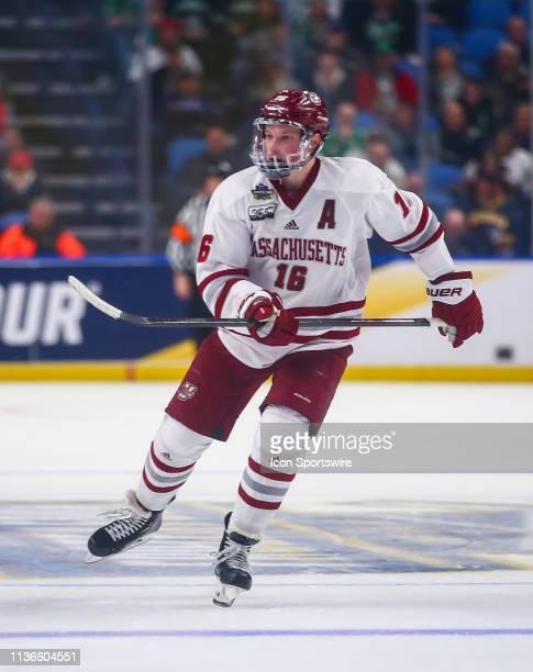 Massachusetts Minutemen Defenseman Cale Makar skates up ice during the semifinals of the NCAA Men's Frozen Four game between Massachusetts Minutemen...