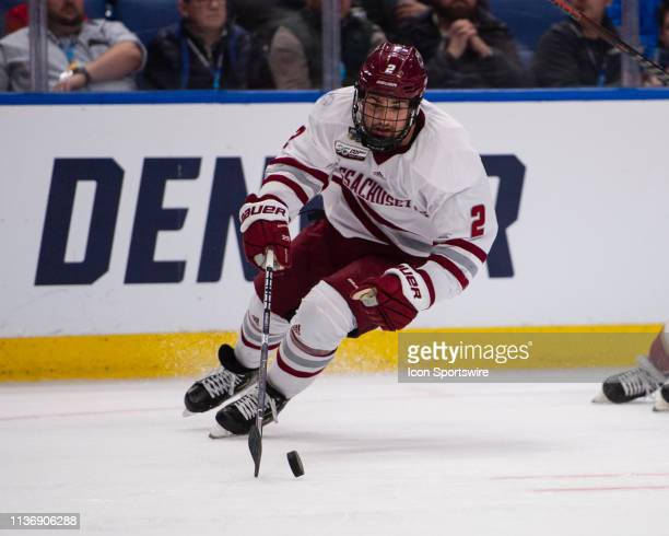 Massachusetts Minutemen Defenseman Marc Del Gaizo skates with the puck during the second period of the NCAA Hockey Frozen Four semi-final game...