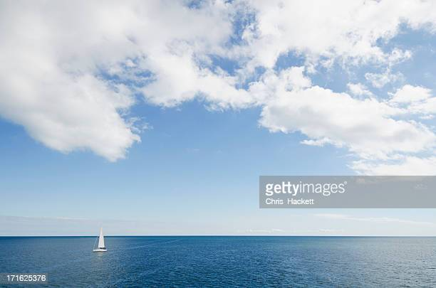USA, Massachusetts, Nantucket, Cape Cod, Lonely sailboat on ocean