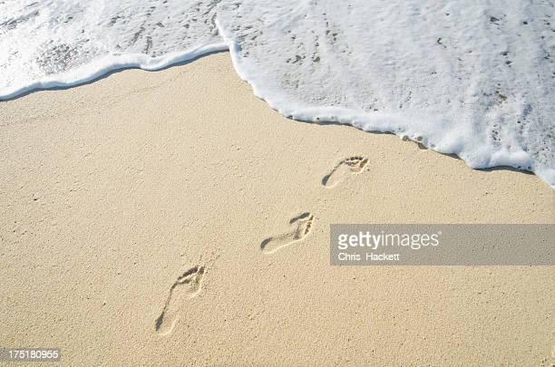 USA, Massachusetts, Nantucket, Footprints on Sandy Beach leading into sea