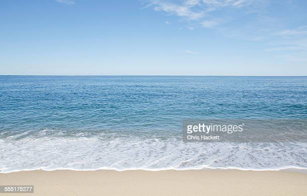 USA, Massachusetts, Nantucket Island, Great Point, Beach with blue sky