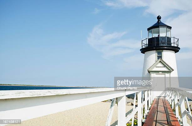 usa, massachusetts, nantucket island, lighthouse on sandy beach - nantucket stock pictures, royalty-free photos & images