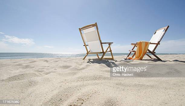 USA, Massachusetts, Nantucket Island, Sun chairs on sandy beach