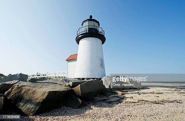 usa, massachusetts, nantucket island, view of brant point lighthouse - nantucket stock pictures, royalty-free photos & images