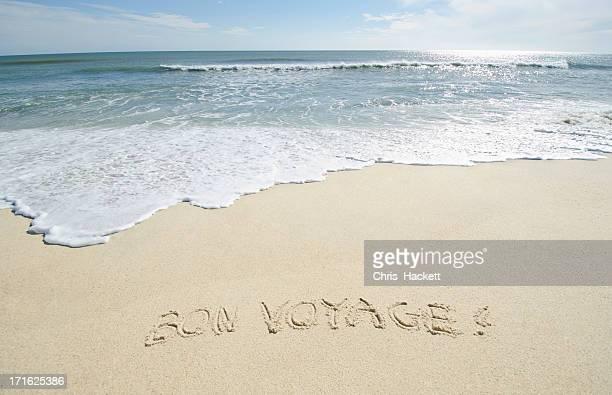 USA, Massachusetts, Nantucket, Nantucket Island, 'Bon Voyage' note on sand