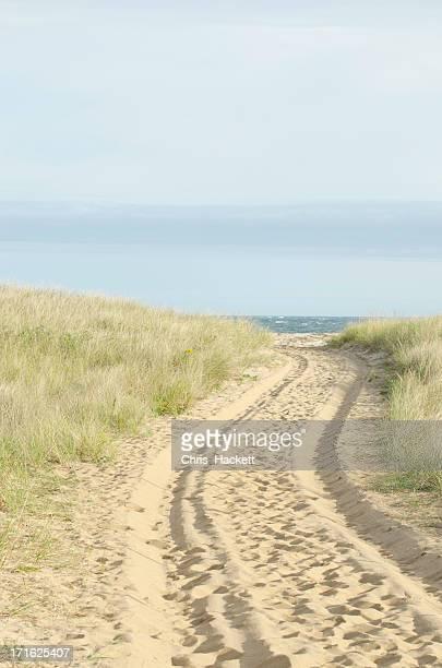 USA, Massachusetts, Nantucket, Path with tyre track