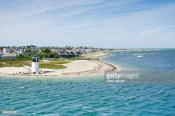 usa, massachusetts, nantucket, seascape with brant point light - massachusetts - fotografias e filmes do acervo