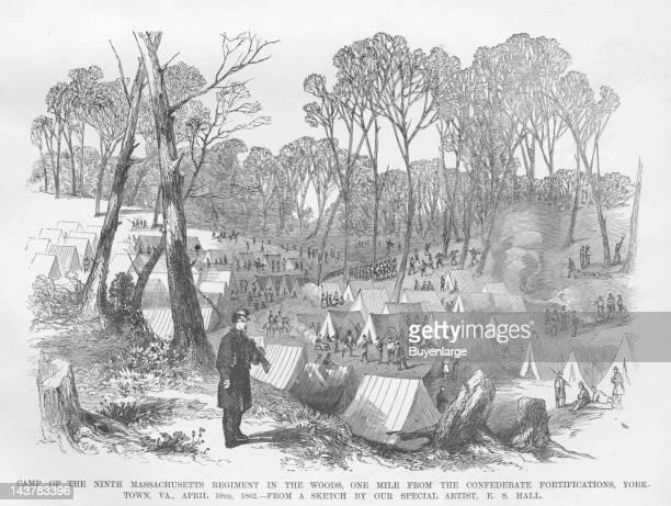 Massachusetts Regiment encamped near Yorktown Yorktown Virginia April 1862 From an issue of Frank Leslie's Illustrated Almanac