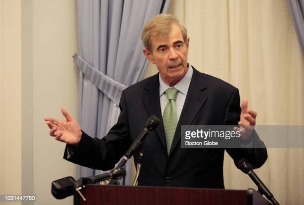 Massachusetts Secretary of State William F Galvin holds a press conference at the Massachusetts State House in Boston on Sep 10 2018 to declare that...