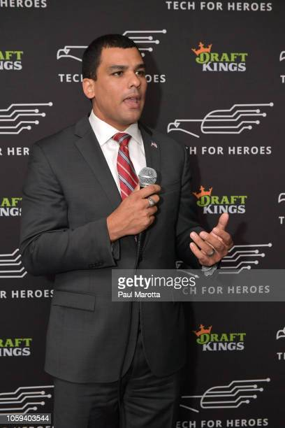 Massachusetts Secretary of Veterans Services Francisco Urena speaks at DraftKings Hosts Veterans Appreciation Event at MJ O'Connors on November 8...