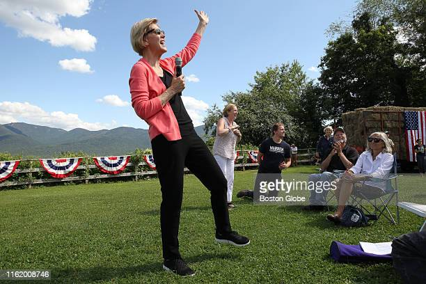 Massachusetts Senator Elizabeth Warren addresses the crowd at the beginning of her 122nd town hall of the Democratic presidential primary at Toad...