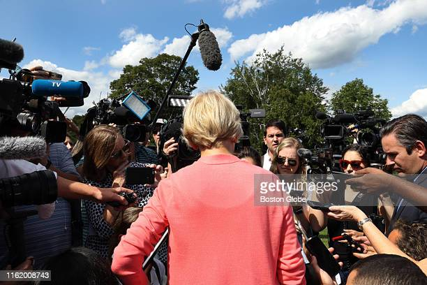 Massachusetts Senator Elizabeth Warren spoke to the media after she held her 122nd town hall of the Democratic presidential primary at Toad Hill Farm...