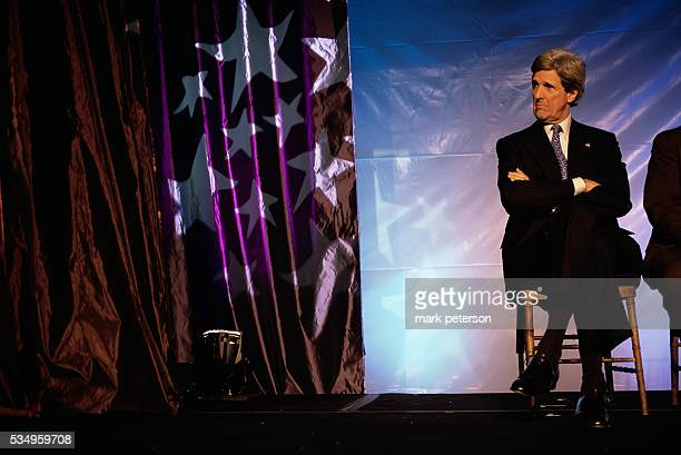 Massachusetts Senator John Kerry sitting on a stage at the NARAL prochoice dinner in Washington DC in January 2003 Kerry had offically announced his...