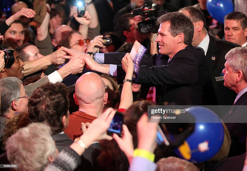 Massachusetts Senator-elect, Republican Scott Brown greets supporters after speaking at his victory celebration on January 19, 2010 in Boston, Massachusetts. Brown defeated Democrat Martha Coakley in a special election to fill the seat of late U.S. Senator Edward M. Kennedy.