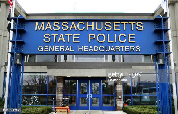 Massachusetts State Police Colonel Christopher Mason held a media briefing at the State Police Headquarters to announce the addition of several of...