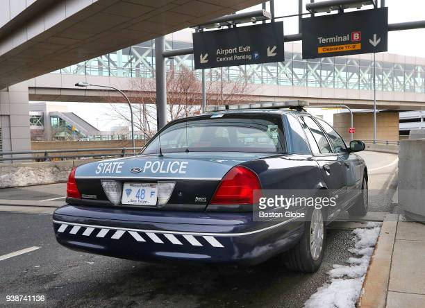 Massachusetts State Police Troop F car sits parked in front of Terminal A at Logan Airport in Boston on March 23 2018 Revelations about an alleged...