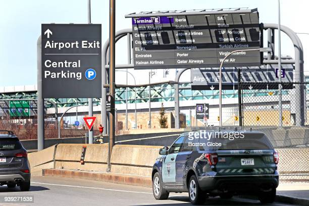 Massachusetts State Police vehicle patrols near Logan Airport in Boston on March 27 2018 Revelations about an alleged overtime scam a wave of...