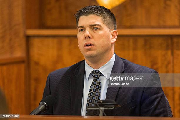 Massachusetts State Trooper Christopher Dumont testifies during the murder trial of former New England Patriots tight end Aaron Hernandez at Bristol...