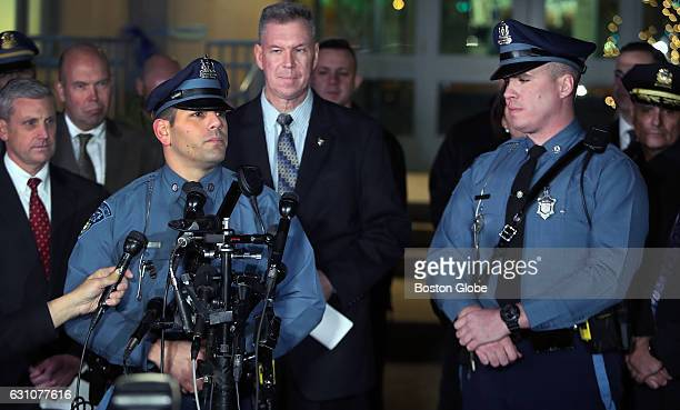 Massachusetts State Trooper Joseph Merrick who arrested federal prison escapee James Morales earlier in the day in Somerville is pictured at a press...