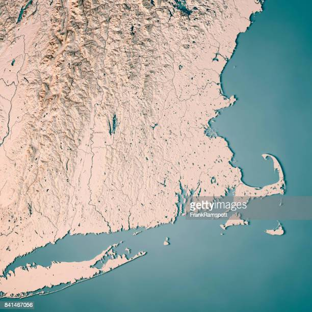 Massachusetts State USA 3D Render Topographic Map Neutral