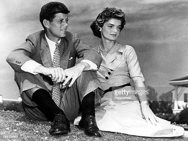 Massachusetts USA 1950's President of the United States of America John F Kennedy pictured as a young man with his wife Jackie Kennedy early in their...