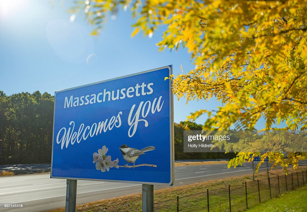 Massachusetts Welcome sign : Stock Photo