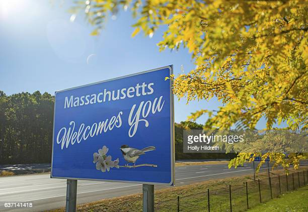 massachusetts welcome sign - massachusetts stock pictures, royalty-free photos & images