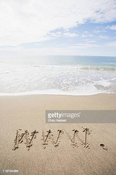 usa, massachusetts, www drawn on sandy beach - hackett stock photos and pictures