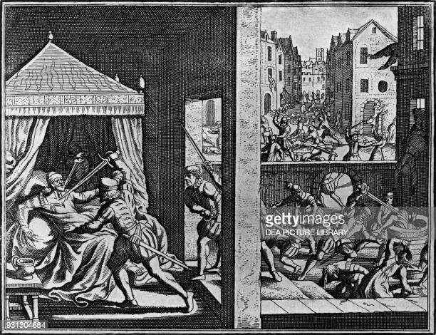 Massacre of the Huguenots on St Bartholomew's Day August 2324 engraving France 16th century