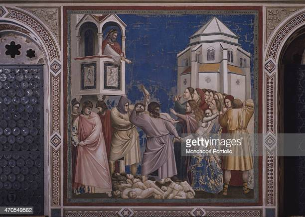 'Massacre of the Innocents by Giotto 13031305 14th Century fresco Italy Veneto Padua Scrovegni Chapel After restoration picture Whole artwork view...