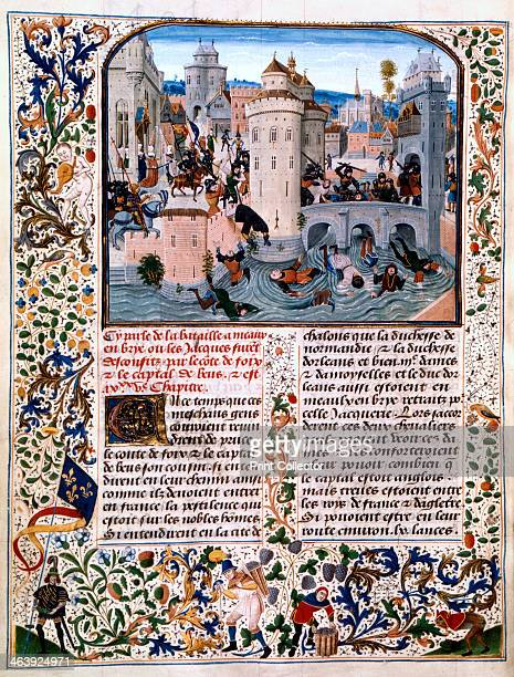 Massacre of the peasant rebels at Meaux, , c1475. Illustration from Jean Froissart's chronicles, showing the Jacquerie in the town of Meaux. Gaston...