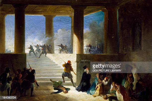 Massacres in Greece 18551860 Giovanni Marghinotti oil on canvas Greek War of Independence 19th century