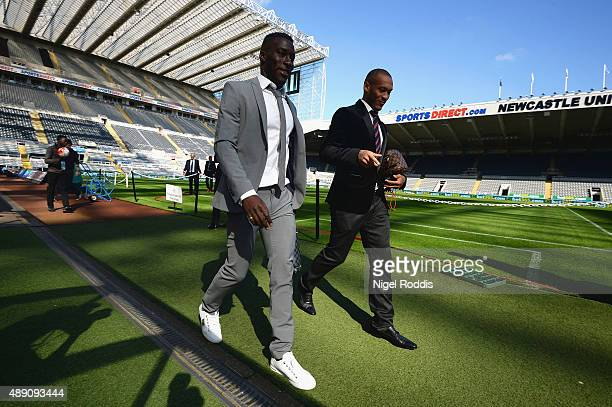 Massadio Haidara and Yoan Gouffran of Newcastle United arrive at the stadium prior to the Barclays Premier League match between Newcastle United and...